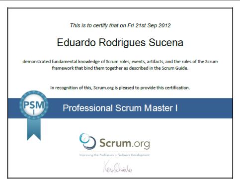 PSM - Professional Scrum Master I - Certificate - Eduardo Rodrigues Sucena